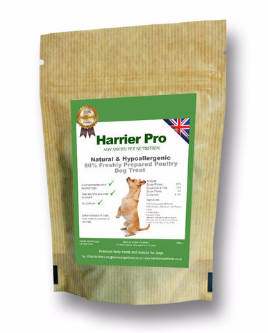 Hypoallergenic (80% Fresh Poultry) Dog Treats (25x100g). Only £40.49. Harrier Pro Pet Foods