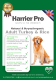 Natural & Hypoallergenic Turkey & Rice Adult Dog Food - Harrier Pro Pet Foods.co.uk