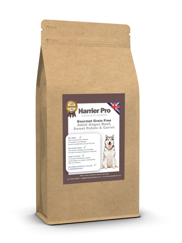 Grain Free Angus Beef, Sweet Potato & Carrot adult dog food - HarrierProPetFoods.co.uk