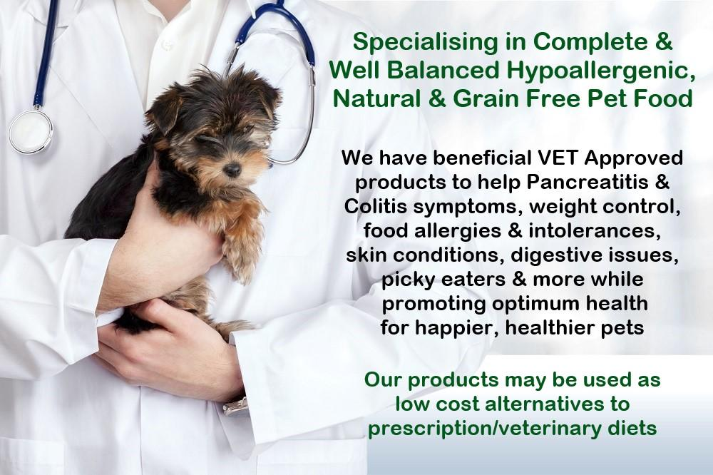 Image of vet with dog on Harrier Pro Pet Foods website