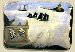 Alfred Wallis replica painting in his cottage in st.ives