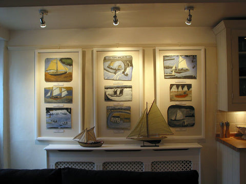 Alfred Wallis paintings, replicas in his holiday home in st.ives cornwall