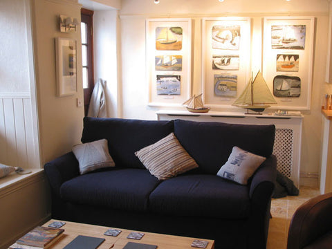 Alfred Wallis sofa bed within the living room of his holiday cottage in st.Ives Cornwall