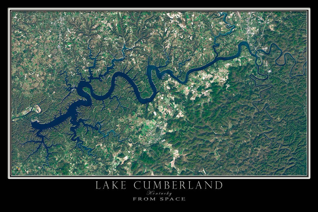 Lake Cumberland Kentucky Satellite Poster Map – TerraPrints.com