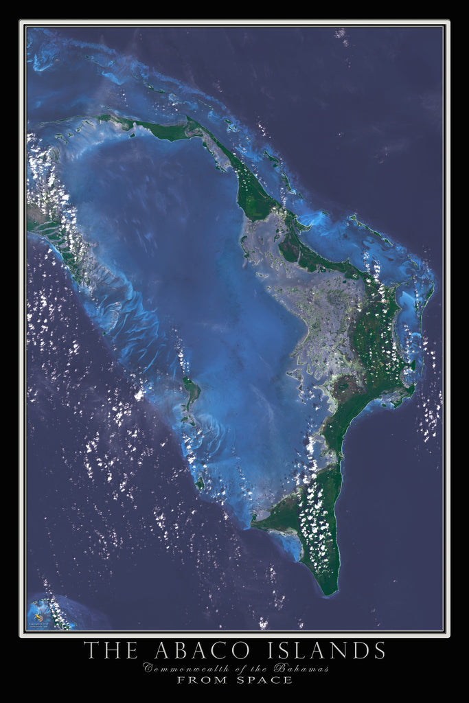 Abaco Islands Bahamas From Space Satellite Poster Map