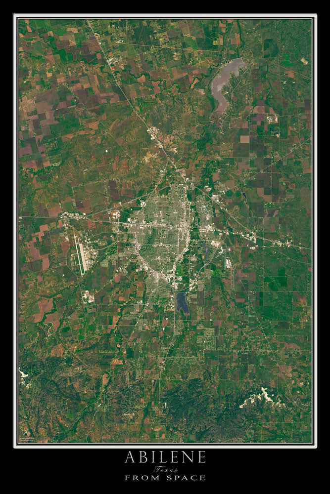 Abilene Texas From Space Satellite Poster Map - TerraPrints.com