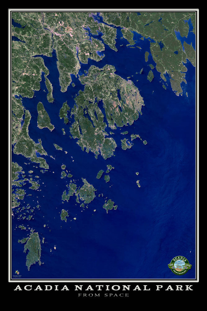 Acadia National Park Maine From Space Satellite Poster Map - TerraPrints.com