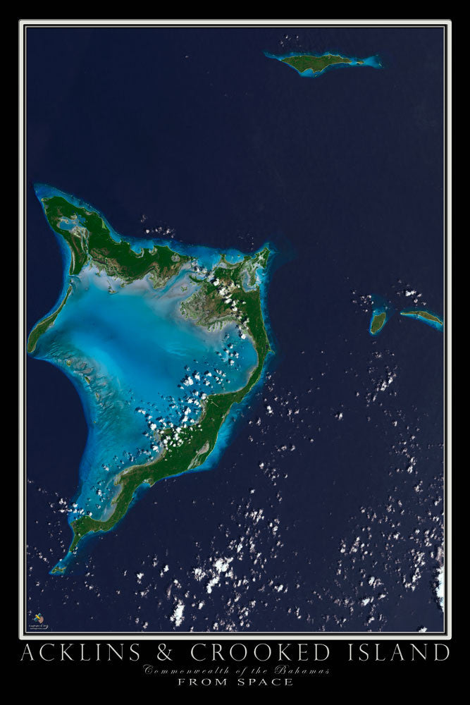 Acklins and Crooked Island Bahamas Satellite Poster Map - TerraPrints.com
