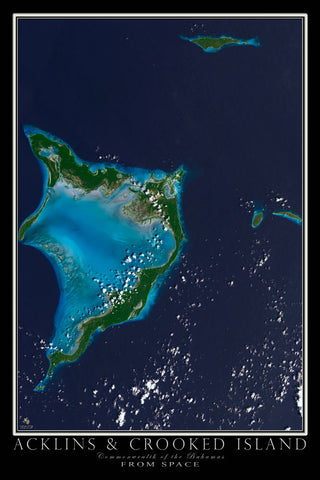Acklins and Crooked Island Bahamas From Space Satellite Poster Map - TerraPrints.com
