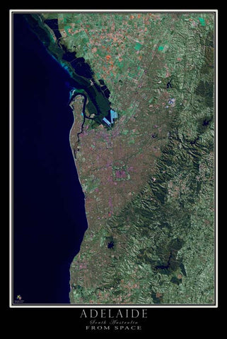 Adelaide South Australia Satellite Poster Map - TerraPrints.com
