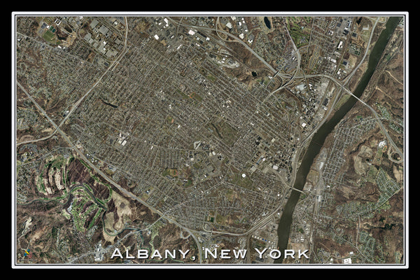 Albany New York From Space Satellite Poster Map - TerraPrints.com
