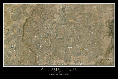 Albuquerque New Mexico From Space Satellite Poster Map - TerraPrints.com