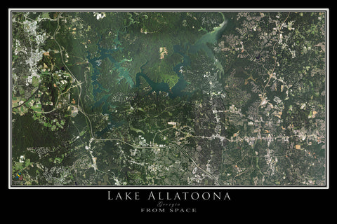 Allatoona Lake Georgia From Space Satellite Poster Map - TerraPrints.com