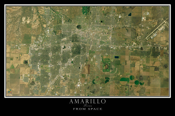 Amarillo Texas From Space Satellite Poster Map - TerraPrints.com