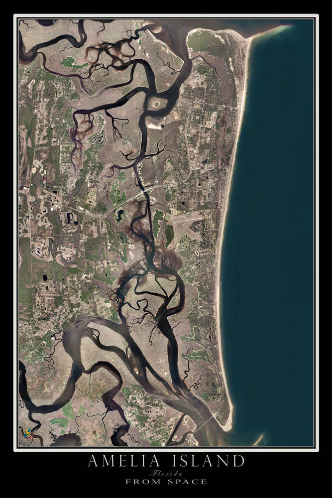 Amelia Island Florida Satellite Poster Map