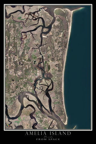 Amelia Island Florida From Space Satellite Poster Map