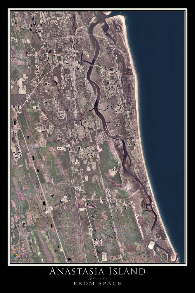 Anastasia Island Florida From Space Satellite Poster Map