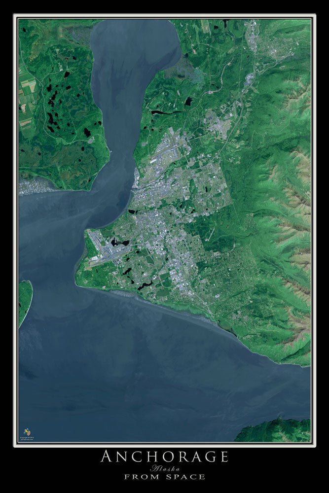 Anchorage Alaska From Space Satellite Poster Map - TerraPrints.com