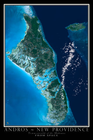 Andros Islands Bahamas From Space Satellite Poster Map - TerraPrints.com
