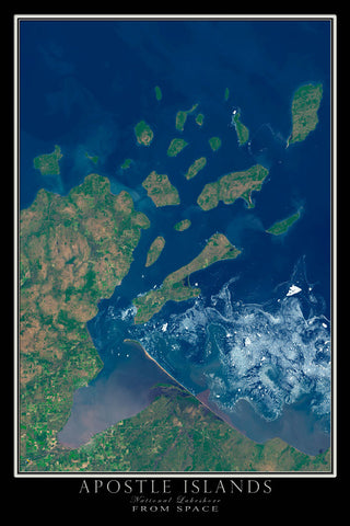 Apostle Islands National Lakeshore Wisconsin From Space Satellite Poster Map - TerraPrints.com