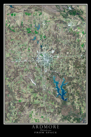 Ardmore Oklahoma From Space Satellite Poster Map - TerraPrints.com