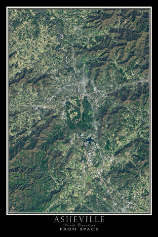 Asheville North Carolina From Space Satellite Poster Map - TerraPrints.com