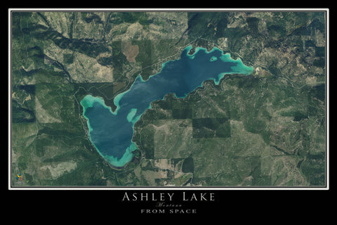 Ashley Lake Montana Satellite Poster Map
