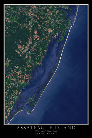 Assateague Island National Seashore Maryland - Virginia Satellite Poster Map - TerraPrints.com