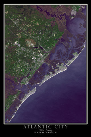 Atlantic City New Jersey From Space Satellite Poster Map - TerraPrints.com
