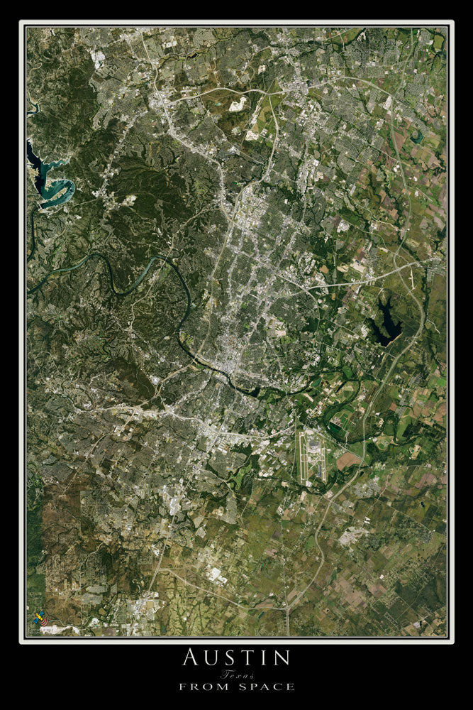 Austin Texas Satellite Poster Map