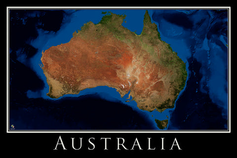 Australia Satellite and Bathymetry Poster Map