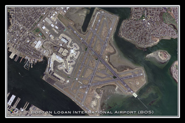 Boston Logan Intl Airport Massachusetts Satellite Poster Map