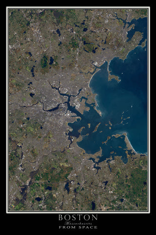 Greater Boston Massachusetts From Space Satellite Poster Map - TerraPrints.com