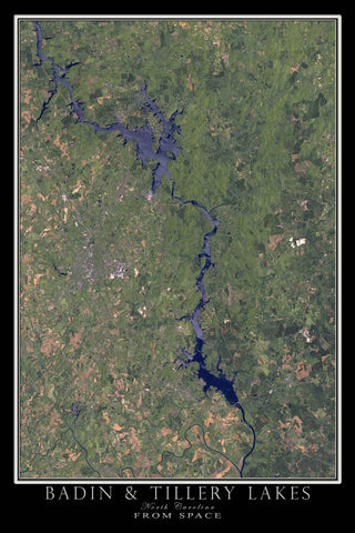 Badin & Tillery Lakes North Carolina From Space Satellite Poster Map - TerraPrints.com