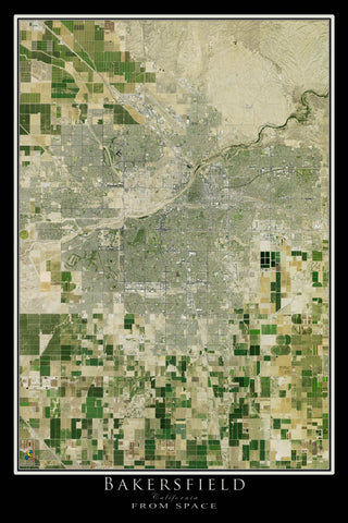 Bakersfield California From Space Satellite Poster Map - TerraPrints.com