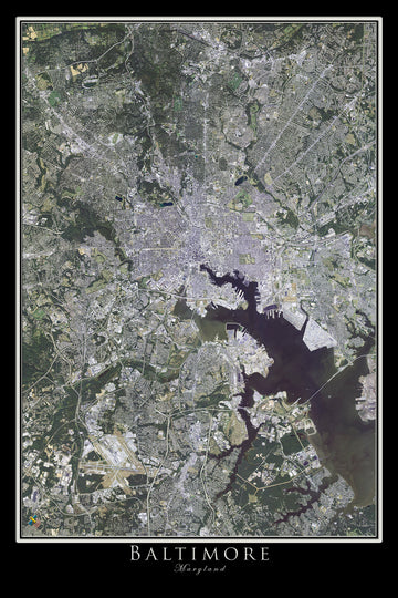 The Baltimore Maryland Satellite Poster Map