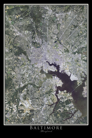 Baltimore Maryland From Space Satellite Poster Map - TerraPrints.com