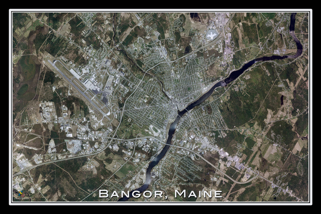Bangor Maine From Space Satellite Poster Map - TerraPrints.com