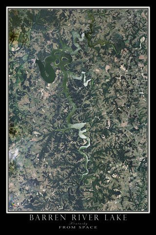 Barren River Lake Kentucky From Space Satellite Poster Map - TerraPrints.com