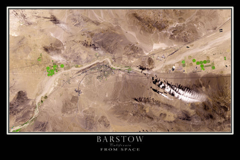 Barstow California From Space Satellite Poster Map - TerraPrints.com