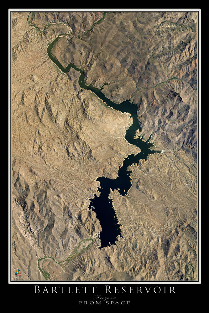 Terra Earth Map.Bartlett Lake Arizona Satellite Poster Map Terraprints Com