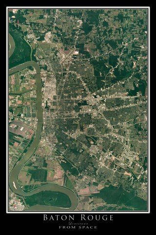 Baton Rouge Louisiana From Space Satellite Poster Map - TerraPrints.com
