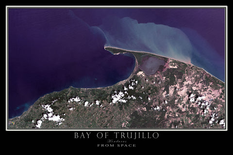 Bay Of Trujillo Honduras From Space Satellite Poster Map - TerraPrints.com