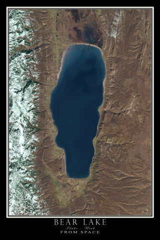 Bear Lake Idaho - Utah From Space Satellite Poster Map - TerraPrints.com