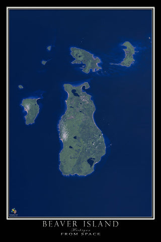 Beaver Island Michigan From Space Satellite Poster Map - TerraPrints.com