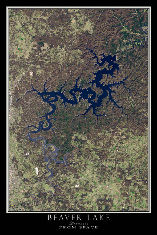 Beaver Lake Arkansas Satellite Poster Map - TerraPrints.com