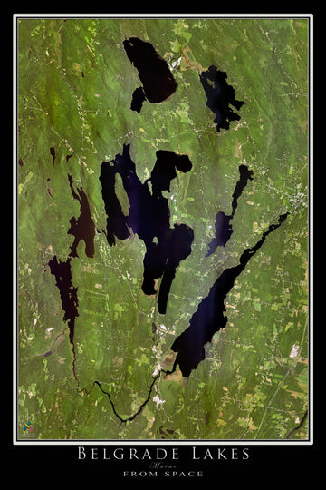 The Belgrade Lakes Maine Satellite Poster Map