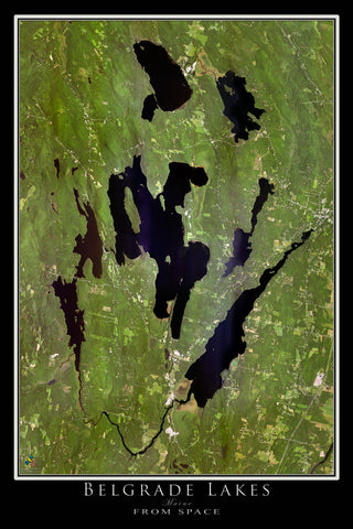 Belgrade Lakes Maine Satellite Poster Map