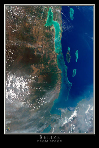 Belize From Space Satellite Poster Map - TerraPrints.com