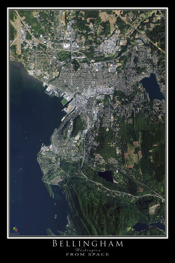The Bellingham Washington Satellite Poster Map